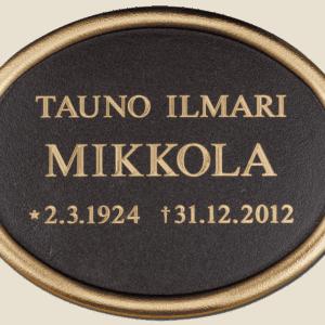 Muistolaatta hautakiveen pk-seudulla, myös muistolehtoon.
