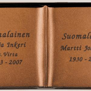 Kuvassa on Taidepatina pronssikirja (muistolaatta kirja). Muistolaattakirja on aukioleva kirja, joka on väritykseltään pronssinen, mutta sen teksti on mustalla.