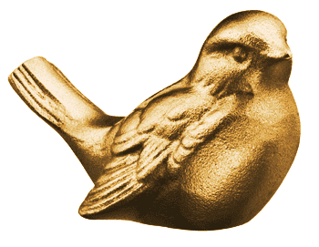Kuvassa on koriste-haudalle-pronssivarpunen. Se on kolmiulotteinen ja väritykseltään pronssinen.