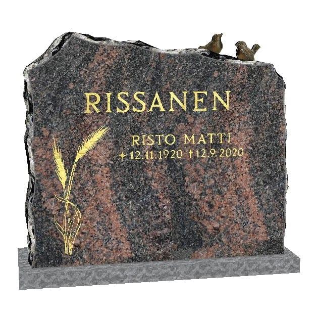 Mäntsälän punaisesta valmistettu hautakivi vilja koristeella.