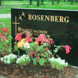 Hautakivi Rosenberg on suorakumion muotoinen hautakivi, joka on väritykseltään musta. Hautakiven vasemmassa reunassa on risti ja sen yläpuolella lintu.