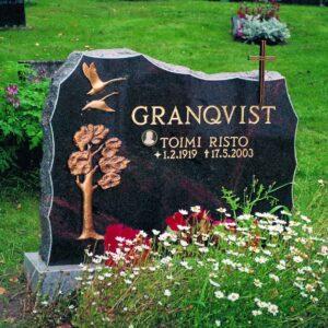 Kuvassa on musta Hautakivi Granqvist. Sen vasemmassa reunassa ylhäällä on kaksi lintua ja niiden alla puu.
