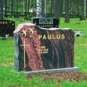 Kivi Mäntsälän punainen nimellä Paulus, hautakivi hinta ja suunnittelu suoraan Kiviveistämö Levanderilta.