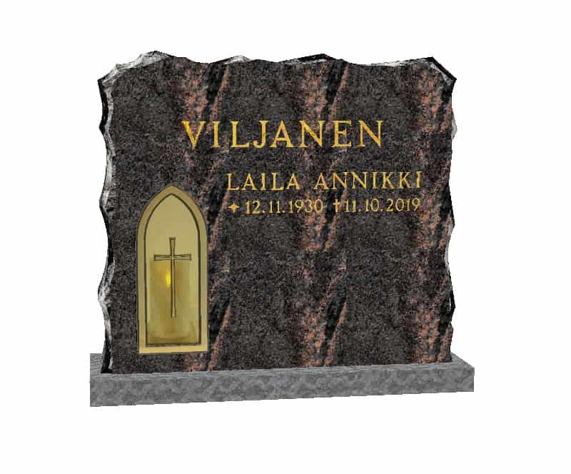 Kuvassa on hautakivi Kynttilänvalo, joka on mäntsälän punainen hautakivi. Hautakivessä on myös nimitiedot kullattu.