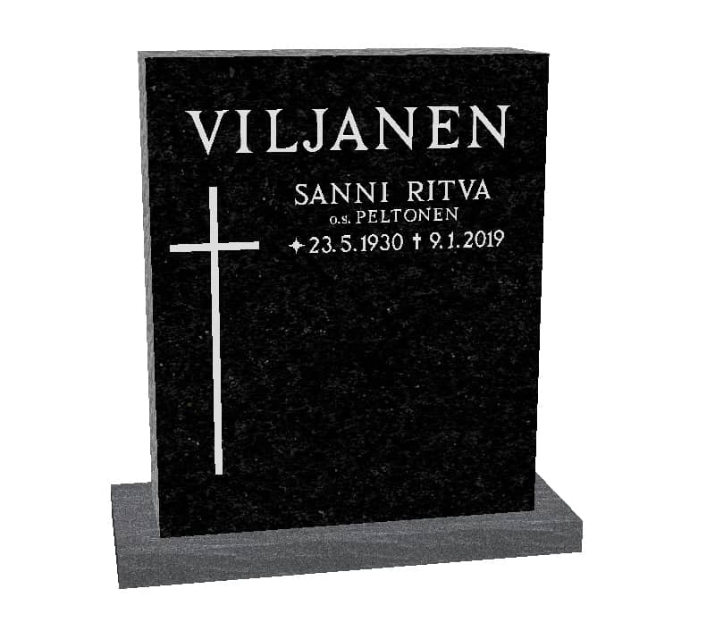Hautakivi Matkalle Lähtö 5 on Varpaisjärven musta hautakivi. Hautakiveen Kaiverrus ja risti maalattu Helmen harmaalla.