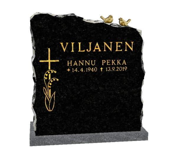 Kuvassa on Hautakivi Lintupari 2, joka on Varpaisjärven musta hautakivi. Hautakiviessä nimitiedot ja ristikoriste kullattu. Risti on hautakiven vasemmassa reunassa ja linnut hautakiven päällä oikealla puolella.