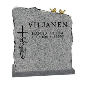 Hautakivi Lintupari 3 on kurun harmaa hautakivi, jonka nimitiedot ja ristikoriste maalattu mustalla.