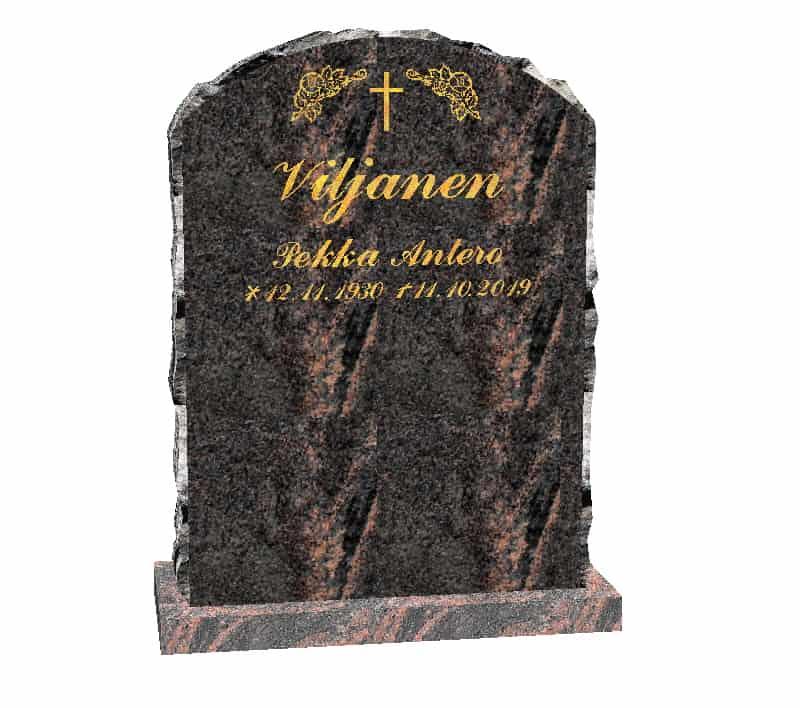 Hautakivi Elämänkaari 2 on Mäntsälän punainen hautakivi. Hautakiven nimitiedot ja koriste kullattu.