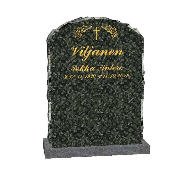 Hautakivi Elämänkaari 3 on ylämaan vihreä hautakivi. Hautakiven nimitiedot ja koriste kullattu.