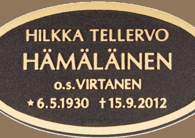 8) Pronssinen kohokaiverruslaatta 7x13 cm