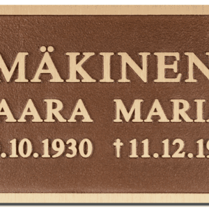 Muistolaatta pronssinen taidepatina kohokaiverruslaatta on neliskanttinen muistolaatta. Väritykseltään se on pronssinen, mutta teksti ja kehystys on vaaleammalla pronssin sävyllä.