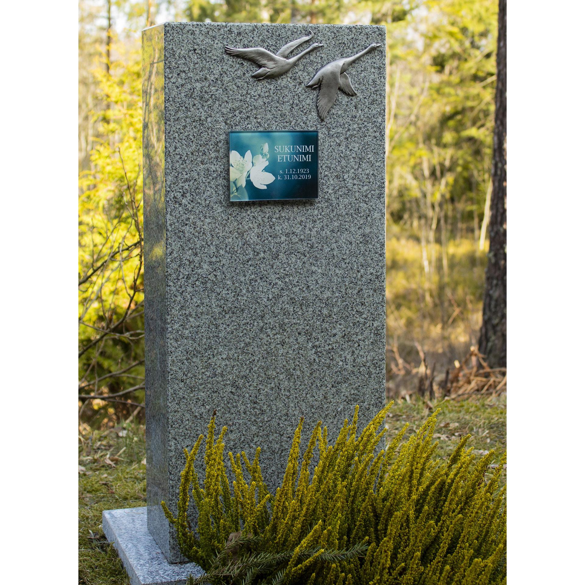 Tässä kuvassa on hautakivi Joutsenpari. Hautakivi on väritykseltään harmaa ja muodoltaan korkea suorakulmio. Koriste joutsenet ovat hautakiven yläosassa.
