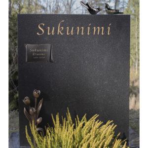 Hautakivi Tulppaanit on musta hautakivi, jonka yläosaan tulee teksti pronssisella värillä. Muistolaatta tulee hautakiveen vasempaan nurkkaan yläosaan.