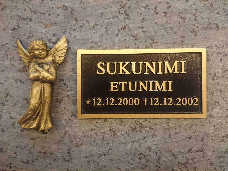 Kuvassa on pronssilaatta (muistolaatta) kohokaiverruksella ja enkeli. Kuvan muistolaatta on musta ja sen teksti on pronssinen. Enkeli on myös väritykseltään pronssinen.